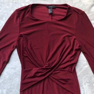 Burgundy, tight long-sleeve dress with pleats